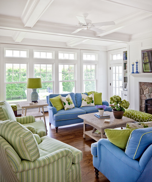 Peaceful blue and green living room
