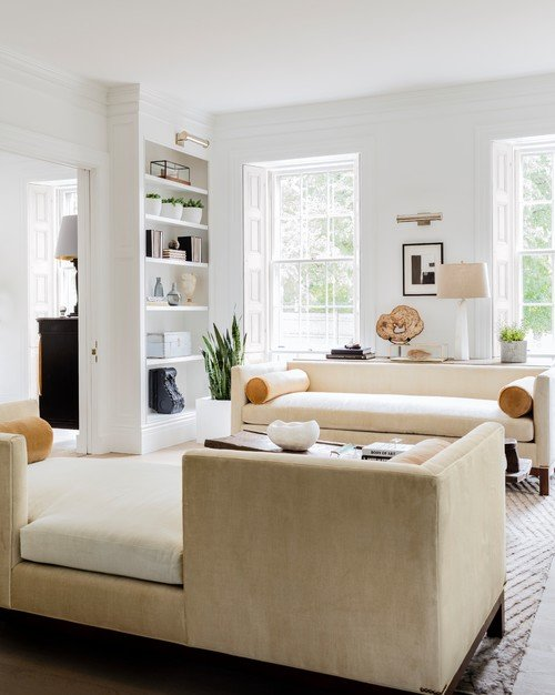 Contemporary White Living Room in Governor's Summer House