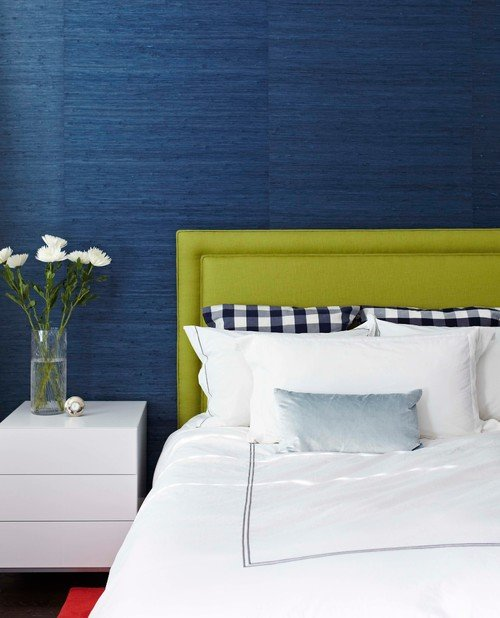 Dark blue and lime green contemporary bedroom