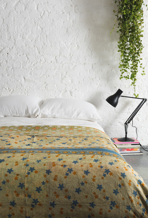 Light Colored Kantha Blanket in Modern Bedroom
