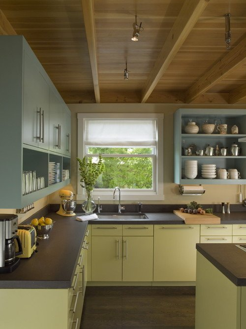 Blue and green kitchen cabinets