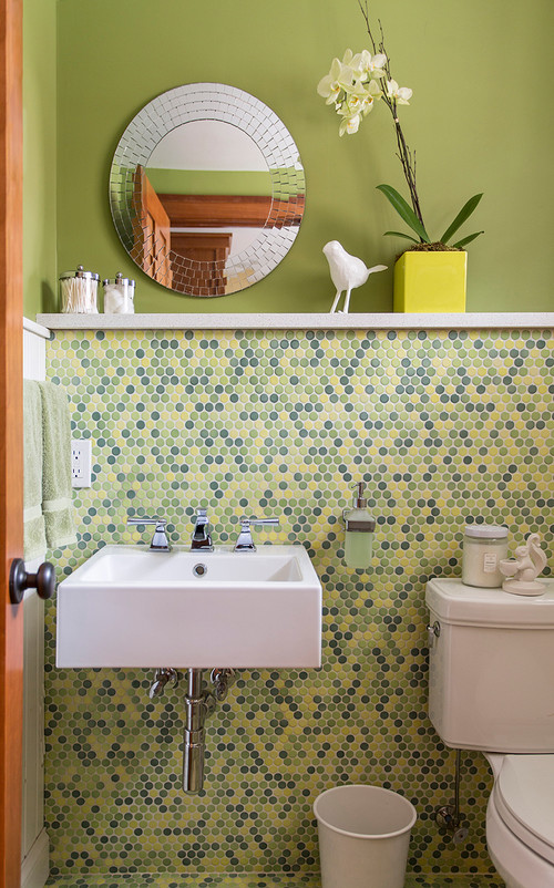 Contemporary Bathroom with Green and Blue Tile