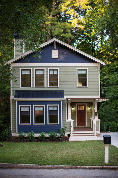 Blue and Green Craftsman Home Exterior