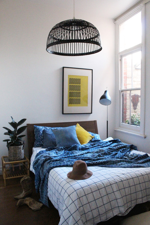 Blue and White Bedroom with Kantha Blanket