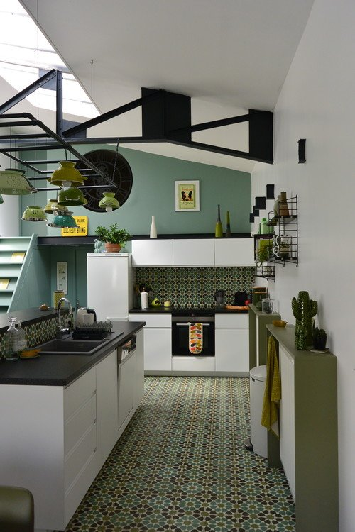 Blue and Green Eclectic Kitchen with Colander Lights