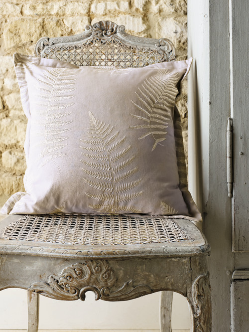 Embroidered Fern Pillow in Cream