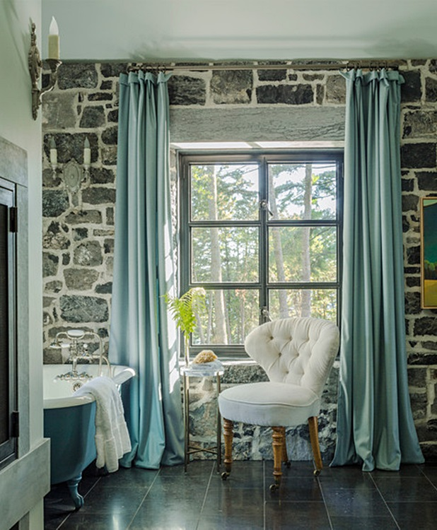 Claw Foot Tub in Historic Stone Farmhouse Bathroom