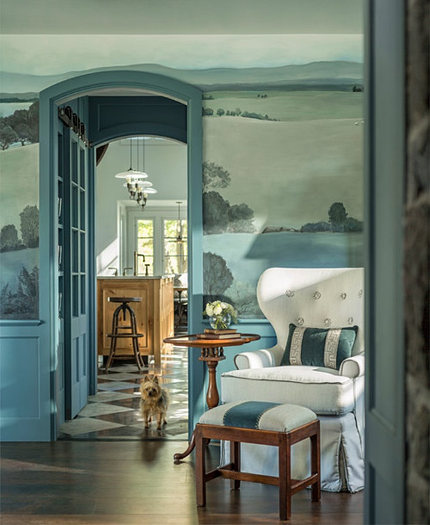 Blue Sitting Room with Hand Painted Mural