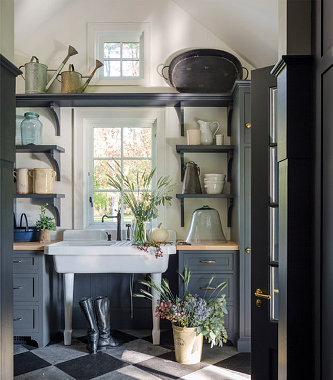 Gray Mudroom in Historic Stone Farmhouse