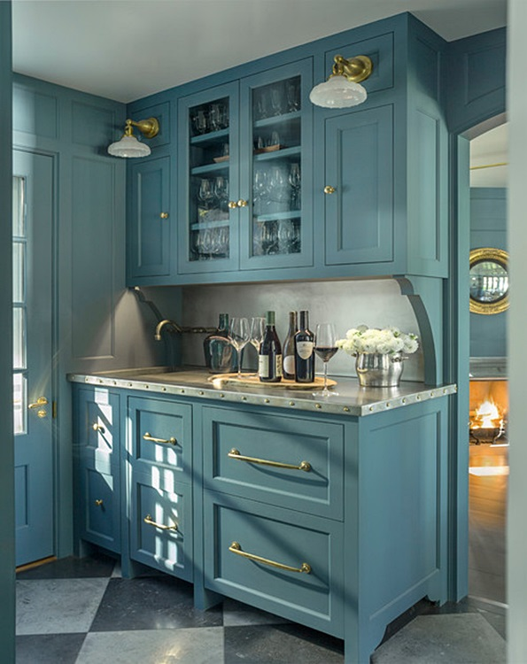 Blue Custom Butler's Pantry