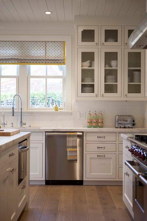 White Farmhouse Kitchen with Wood Floors