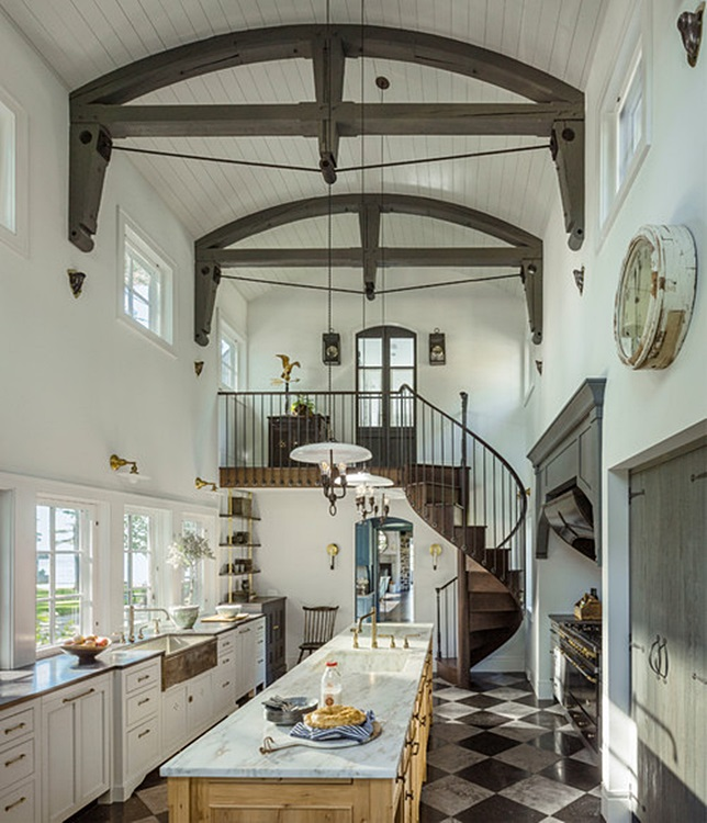 Historic Stone Farmhouse Kitchen with Winding Staircase