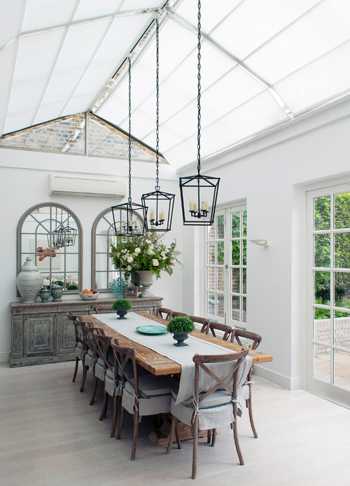 Farmhouse Style Sun Room  with Dining Table
