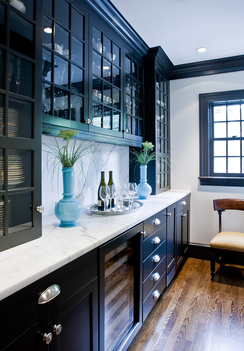 Dark Kitchen Cabinets and White Counter Tops