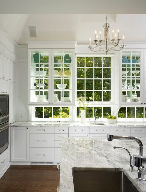 Traditional White Kitchen with Glass Cabinet Doors
