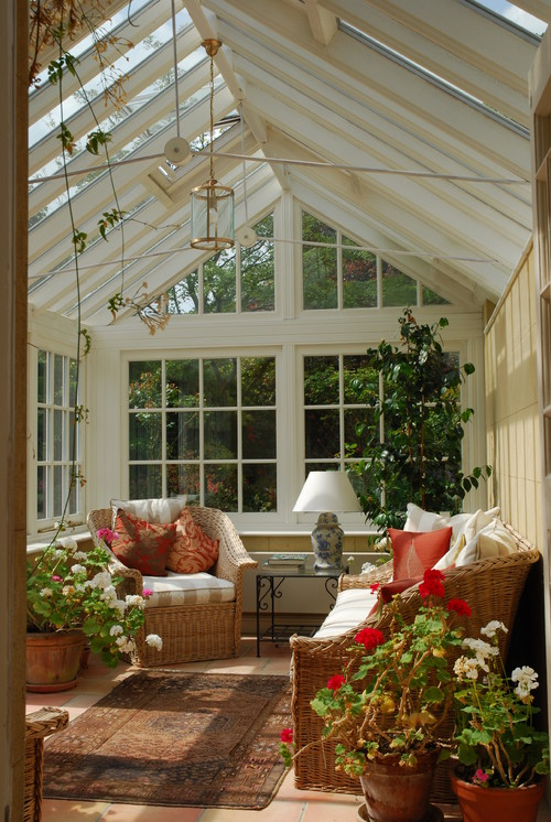 Traditional Sun Room with Wicker Furniture