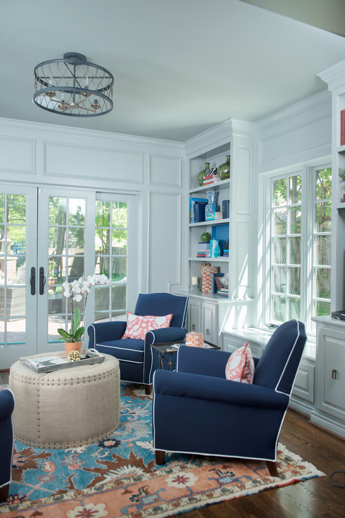 Sun Rooms with Traditional Style in Blue and White