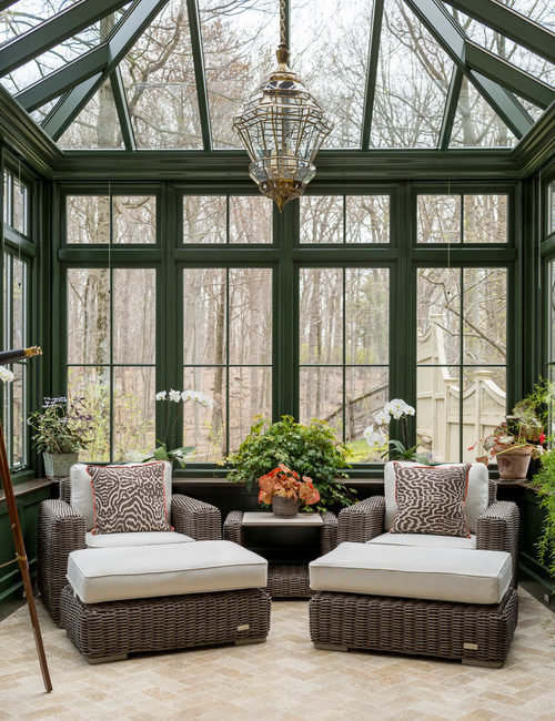 Traditional Sun Room with Dark Green Paint