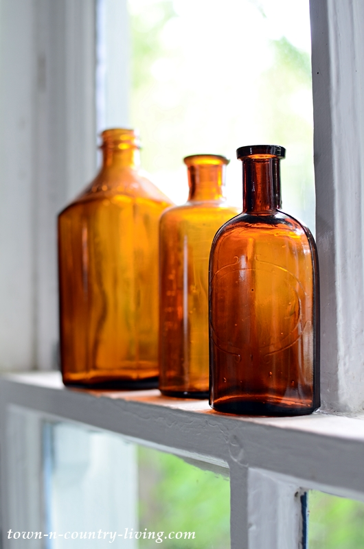 Earthy Vignettes with Vintage Brown Bottles