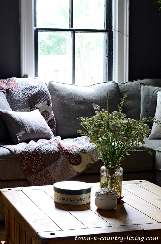Wildflowers in Dark Gray Living Room