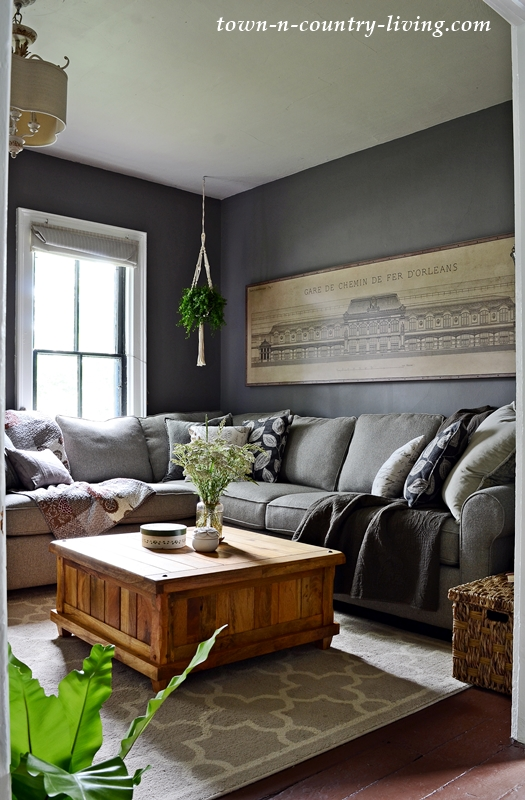 Summer Neutrals Home Tour - Dark Gray Living Room