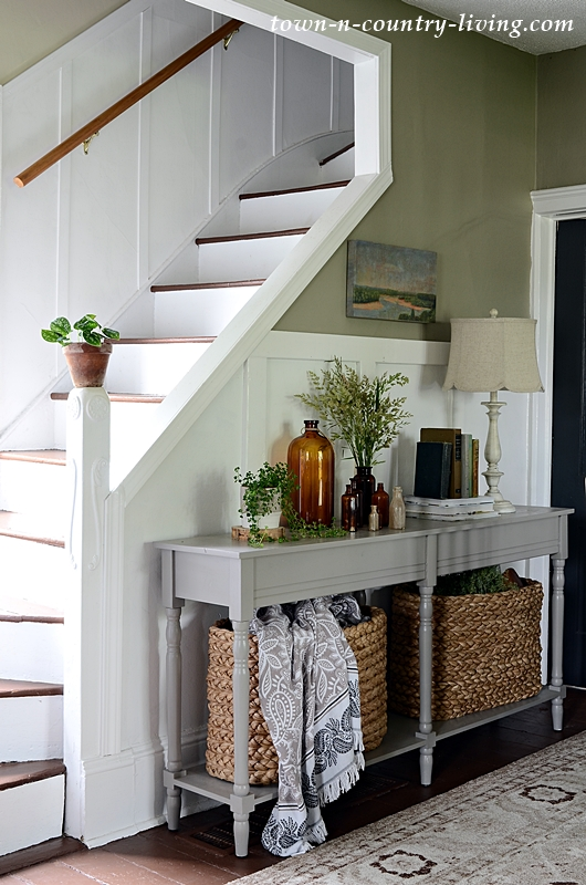 Country Style Console Table and Staircase in Historic Home