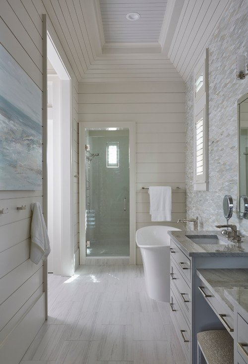 Coastal Style Bathroom with Free Standing Soaker Tub