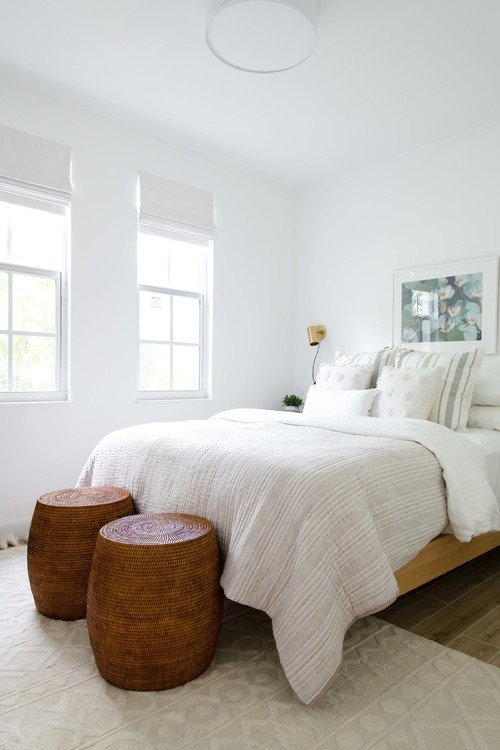 Contemporary White Bedroom with Sculpted Rug