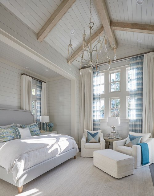 Gorgeous White and Wood Beach House Master Bedroom with Touches of Blue