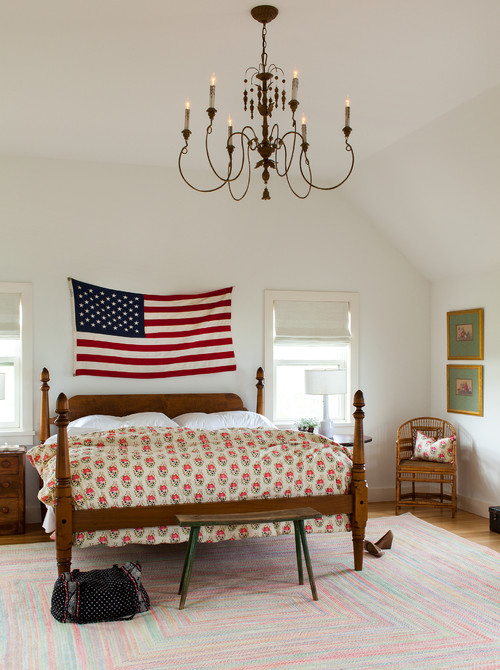American Flag as Wall Decor in Modern Country Bedroom