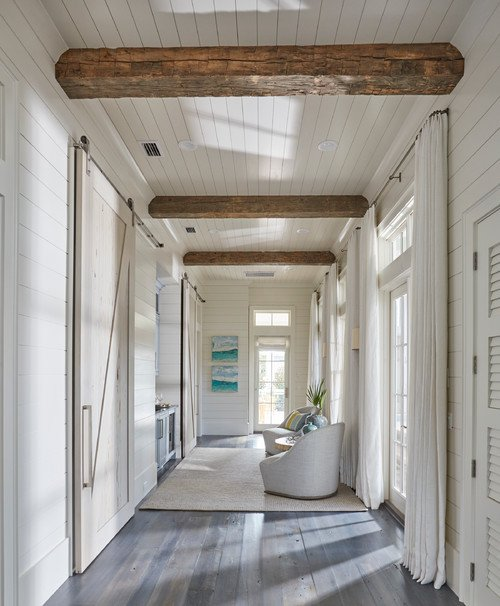 Coastal Hallway with French Doors
