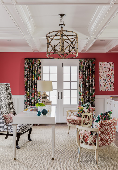 Home Office with Bold Coral Walls