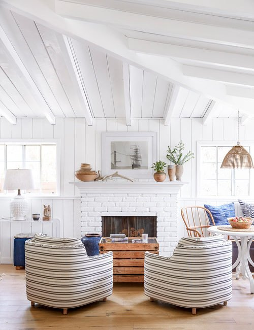 Modern Beach Style Living Room with Painted Vaulted Ceiling