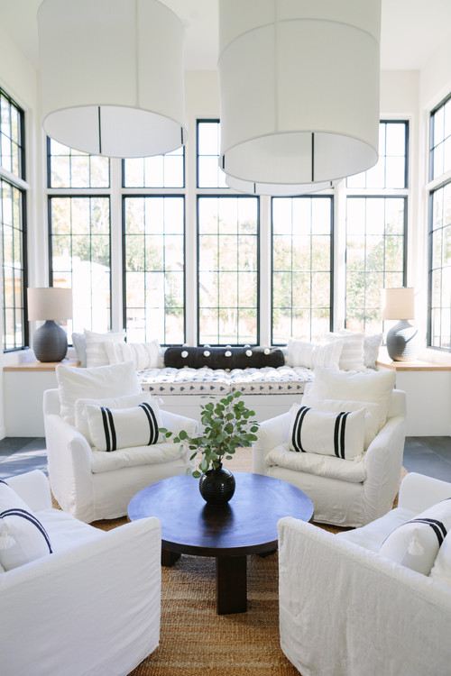 White Beach Style Living Room with Large Windows