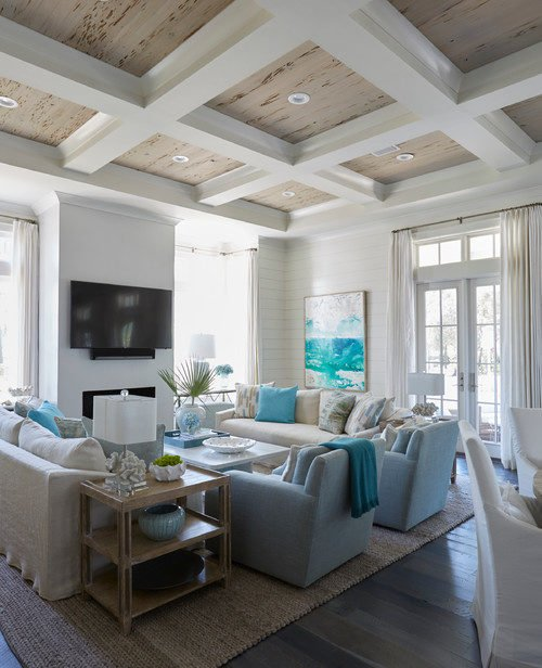Beach House Living Room in Blue and White