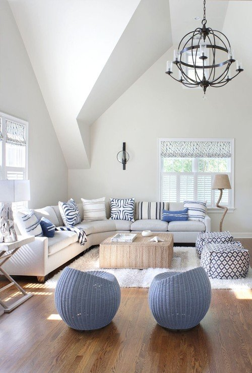 White and Blue Scandinavian Style Living Room
