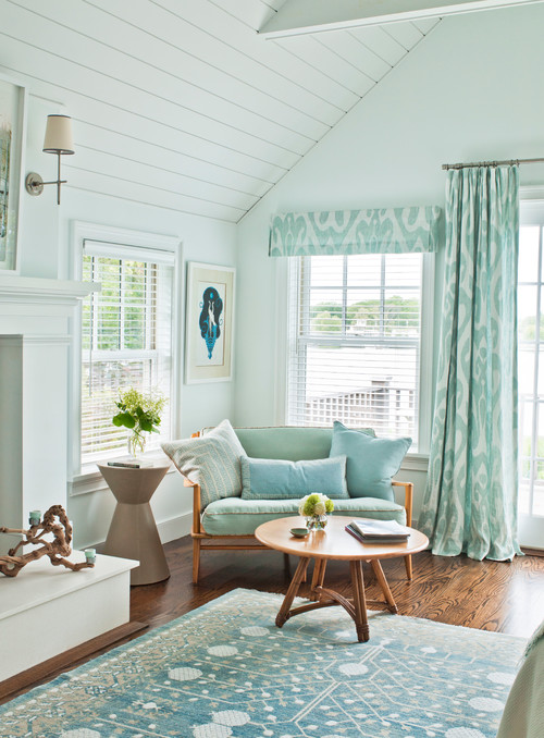 Pastel Aqua and White Cottage Living Room