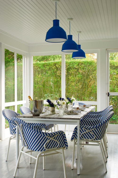 Blue and White Dining Room in Screened Porch