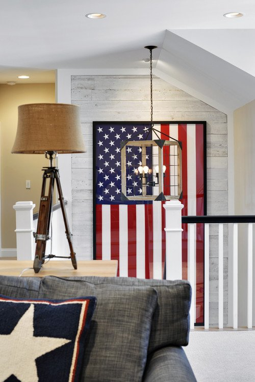 Framed U.S. Flag on Staircase Wall