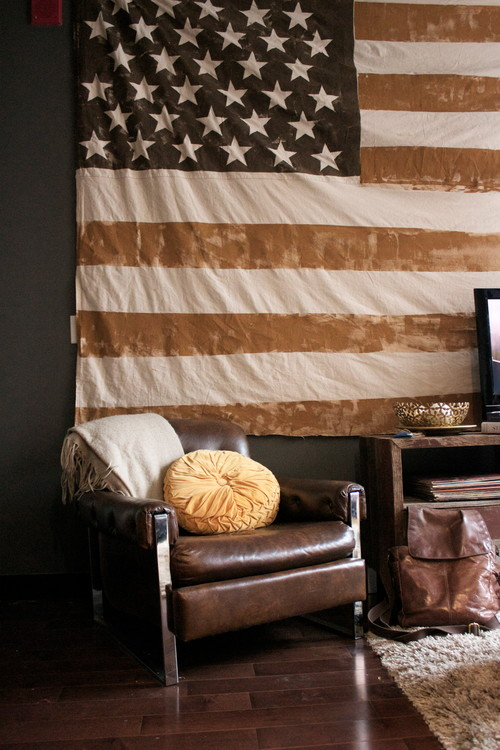 Faded Flag in Rustic Living Room