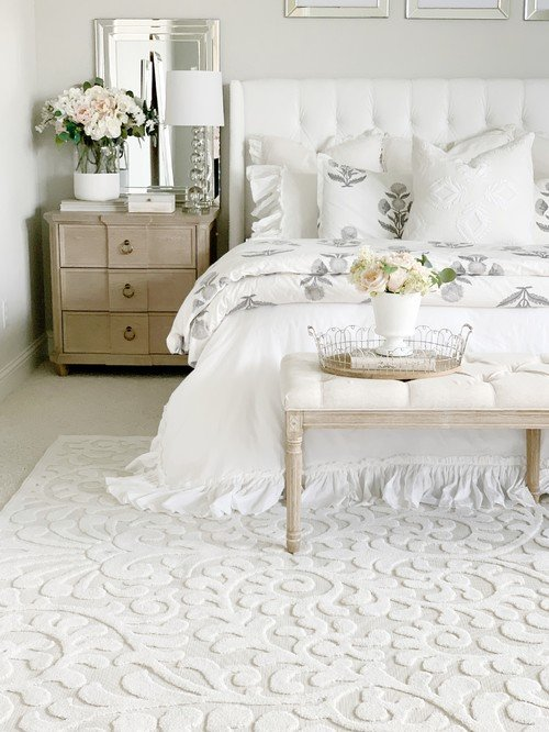 White Bedroom with Sculpted White Rug