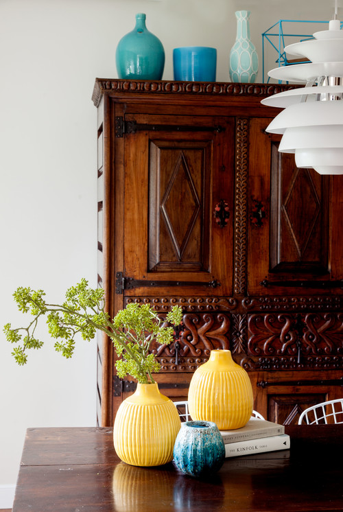 Carved Armoire in Traditional Home Dining Room