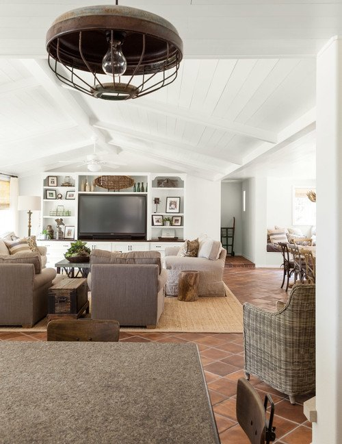 Modern Country Living Room in Spanish Style House