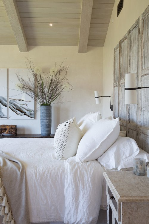 White Mediterranean Style Bedroom with Hints of Driftwood