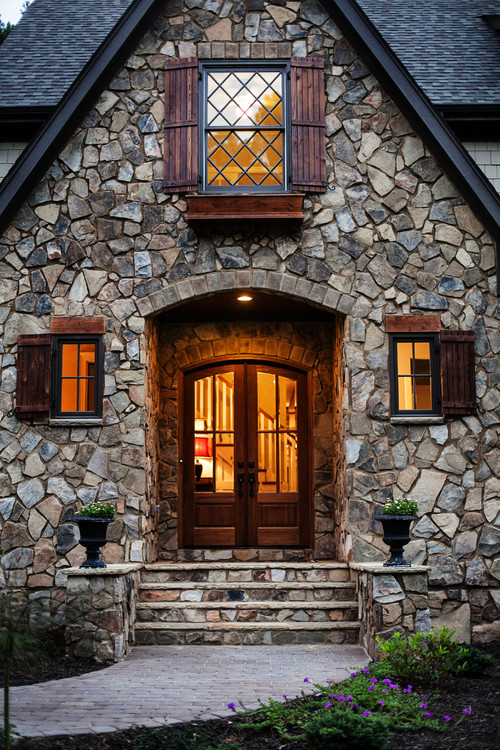 Rustic Entry with Mosaic Stone Work