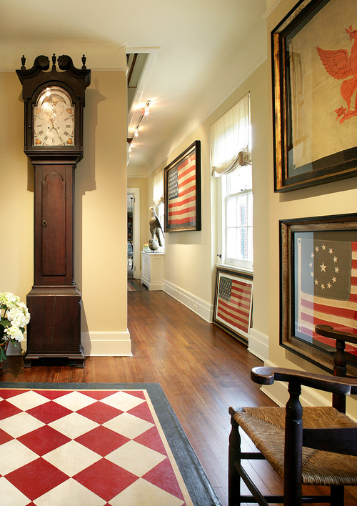 Framed Flags and Old Glory in Colonial Home