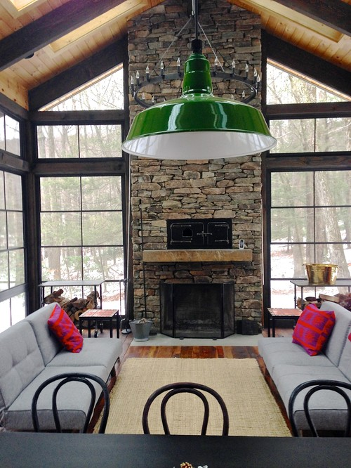 Vaulted porch with stone fireplace