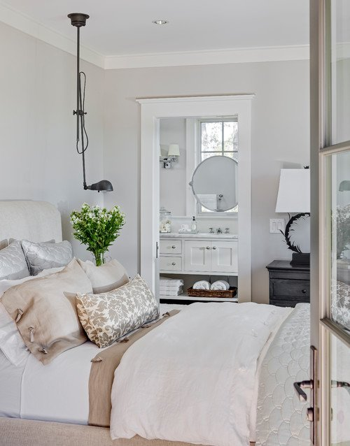 Metallic and Linen Fabrics in a White Bedroom