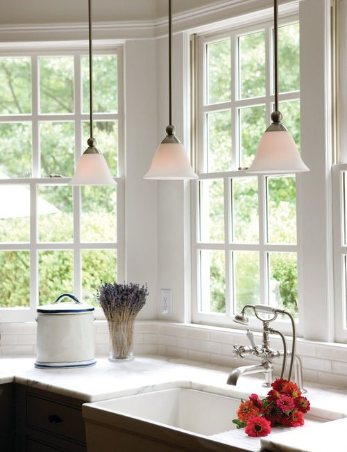 Bay window in farmhouse kitchen with country style