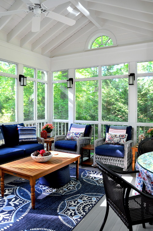 Blue and White Screened In Porch